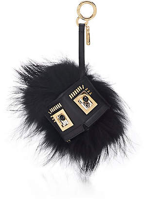 Fendi Women's Leather & Fur Coin Purse Bag Charm - Black+Soft Gold