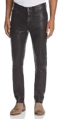 J Brand Mick Skinny Fit Leather Pants in Washed Black