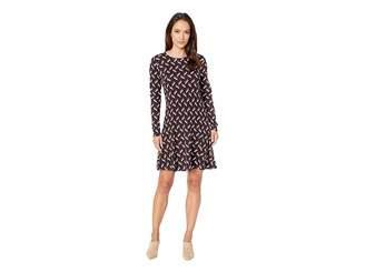 MICHAEL Michael Kors Chevron Print Long Sleeve Flare Dress