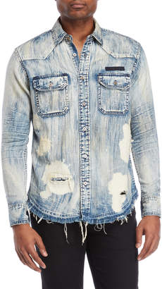 PRPS Anchor Distressed Denim Shirt