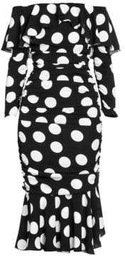 Dolce & Gabbana Dolce& Gabbana Dolce& Gabbana Women's Stretch Silk Polka-Dot Midi Trumpet Dress - Black White - Size 40 (4)