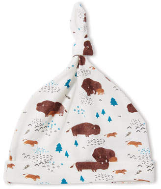Angel Dear Bison-Print Knotted Baby Hat