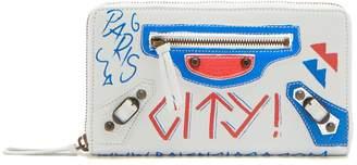 Balenciaga Classic City mini graffiti-print leather wallet