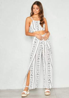 ed3694a9c918d Missy Empire Missyempire Lisa White Aztec Crop Co-ord Set