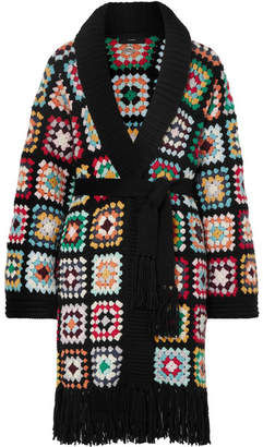Alanui - Fringed Crocheted Cashmere Cardigan - Black
