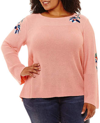 ST. JOHN'S BAY Long Bell Sleeve Embroidered Sweater - Plus