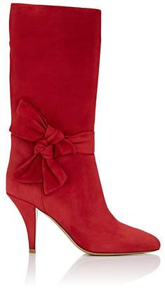 Valentino Women's Bow-Embellished Suede Knee Boots