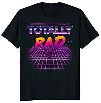 Totally Rad 1980s Eighties Neon Grid Outer Space T-Shirt