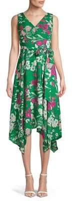 Eliza J Tied Floral V-Neck Handkerchief Dress
