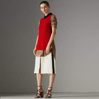 Burberry Stripe Wool Silk A-line Skirt