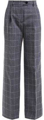 Acne Studios Checked Wide Leg Cotton Blend Trousers - Womens - Navy Multi