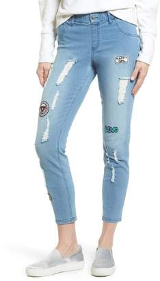 Hue Patched Distressed Denim Skimmer Leggings