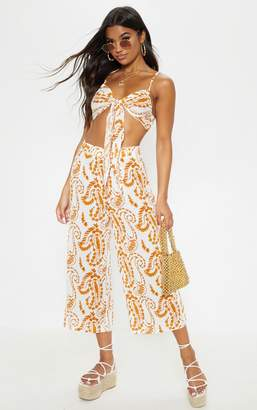 PrettyLittleThing White Paisley Print Culottes
