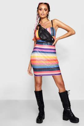 boohoo Lea Rainbow Sequin Square Neck Mini Dress