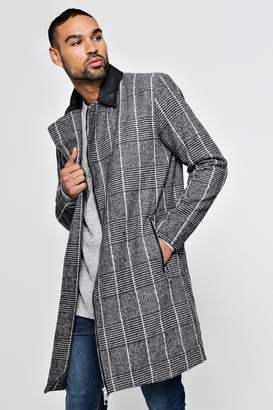 boohoo PU Detail Wool Look Coat