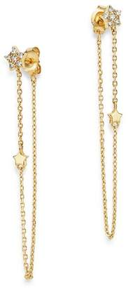 Moon & Meadow Diamond Star Front-Back Draped Chain Earrings in 14K Yellow Gold, 0.13 ct. t.w. - 100% Exclusive