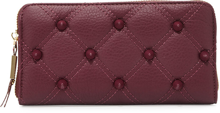 Deux Lux Empress Quilted Spiked Zip Wallet, Berry