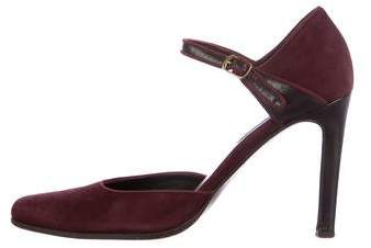 Ralph Lauren Collection Cadence Leather-Trimmed Pumps