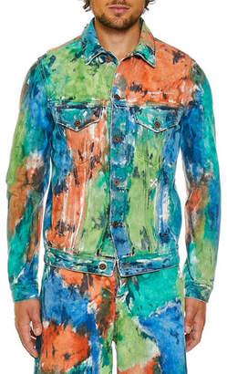 Off-White Men's Slim-Fit Denim Multicolor Jacket