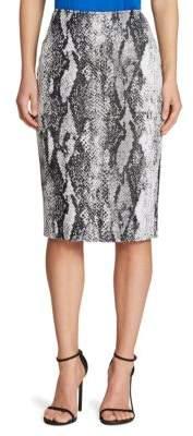 St. John Snakeskin-Print Pencil Skirt