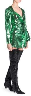 ATTICO Sequin Wrap Mini Dress