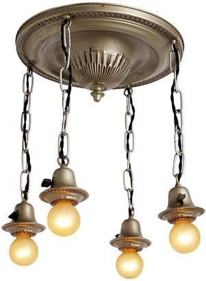Rejuvenation Four-Light Bare Bulb Shower Fixture w/ Worn Silver Finish