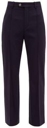 Chloé Tailored Virgin Wool Blend Twill Trousers - Womens - Navy