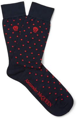 Alexander McQueen Polka-Dot Stretch Cotton-Blend Socks