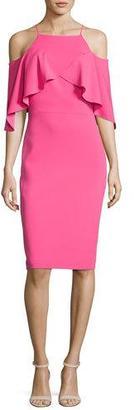 Badgley Mischka Cold-Shoulder Popover Dress, Raspberry $375 thestylecure.com