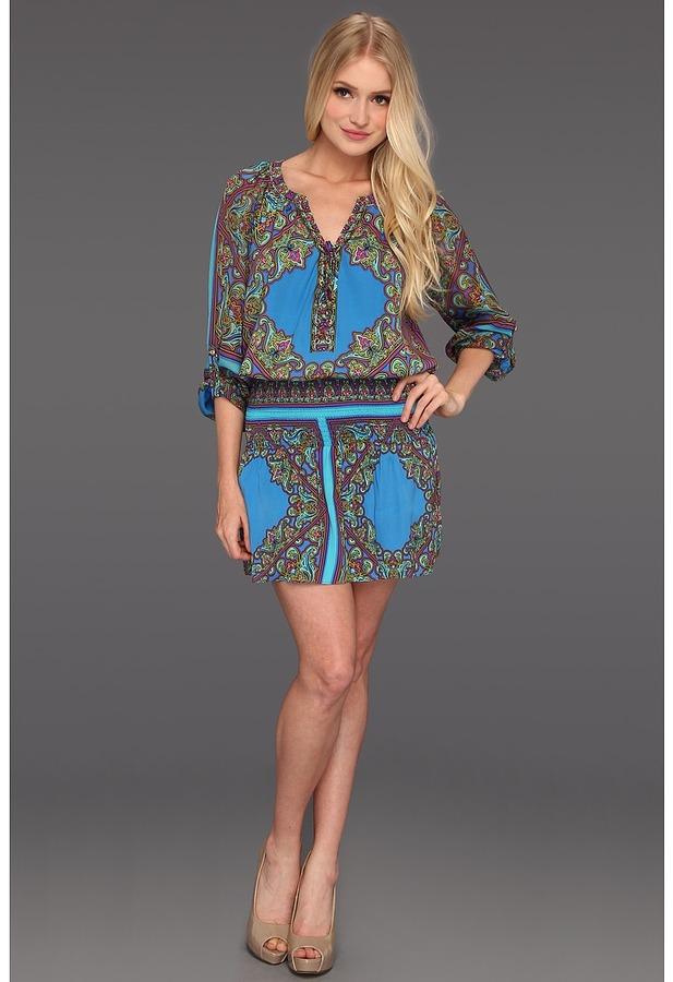 Hale Bob Peace, Love And Fashion Stefi Drop Waist Dress (Blue) - Apparel