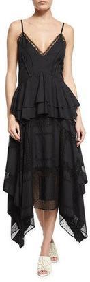 Derek Lam V-Neck Lace-Inset Peplum Dress, Navy $3,995 thestylecure.com