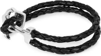 Nialaya Braided leather and silver anchor bracelet