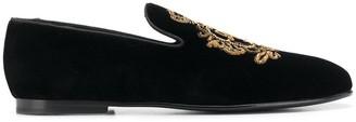 Dolce & Gabbana velvet logo loafers