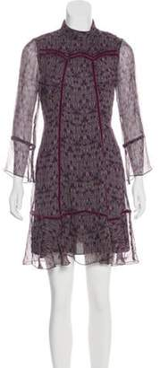 Anna Sui Silk Long Sleeve Dress Purple Silk Long Sleeve Dress