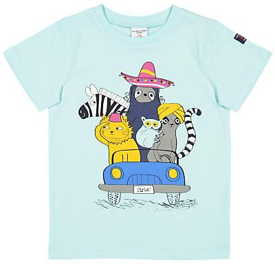 Polarn O. Pyret Children's Animal Print T-Shirt, Blue