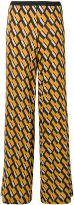 Siyu geometric print flared trousers