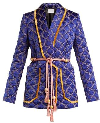 Peter Pilotto Double Breasted Quilted Satin Blazer - Womens - Blue