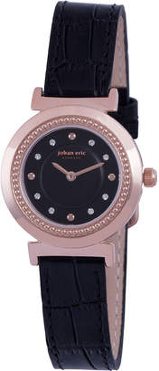 Johan Eric Djursland Quartz Swarovski Crystal Black Leather Strap Watch