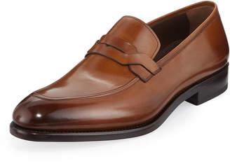 Salvatore Ferragamo Men's Backer Braided Burnished Leather Loafer