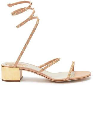 Rene Caovilla 'Cleo' embellished coil anklet leather sandals