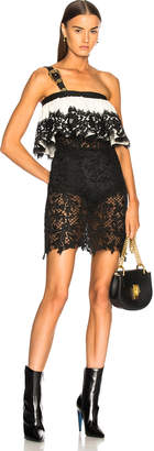 Fausto Puglisi Lace Ruffle Dress with Belt Strap