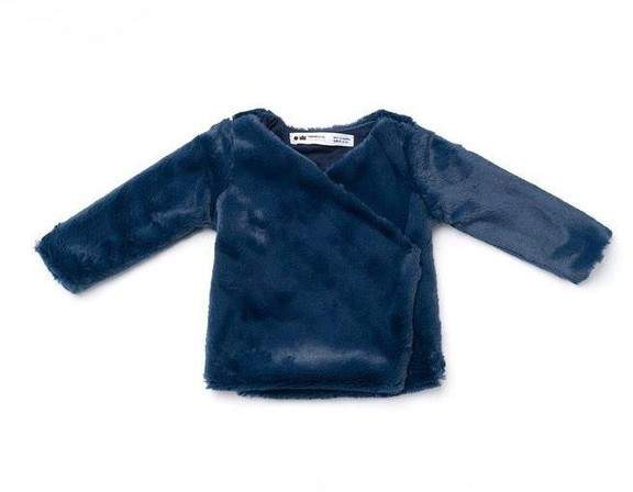 Omamimini Omamimini | Baby Faux Fur Cardigan Navy | 18-24 months
