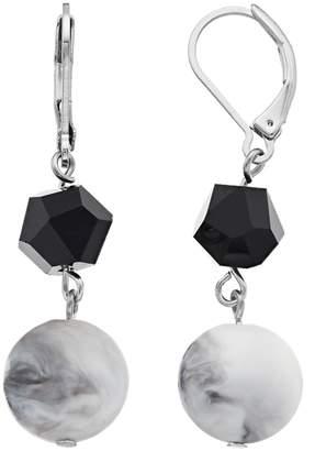 Vera Wang Simply Vera Black & White Bead Drop Earrings