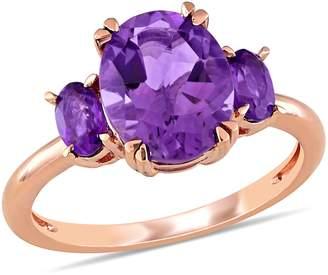 14K 2.65 cttw Oval Amethyst Three-Gemstone Ring