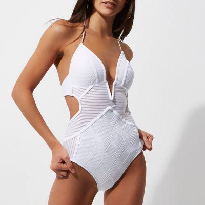 River IslandRiver Island Womens White stripe panel plunge swimsuit