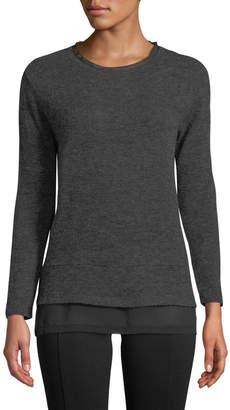 Neiman Marcus Crewneck Chiffon-Hem Sweater