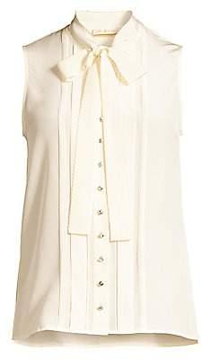 Tory Burch Women's Plissé-Trim Sleeveless Tie-Neck Silk Blouse