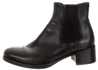Prada Leather Round-Toes Ankle Books Black Leather Round-Toes Ankle Books