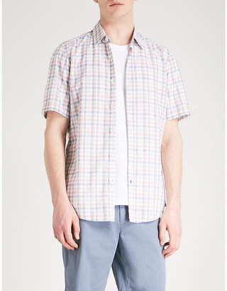 BOSS Checked slim-fit cotton shirt