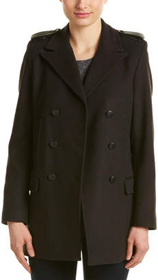 The Kooples Double-Breasted Leather-Trim Wool & Cashmere-Blend Coat